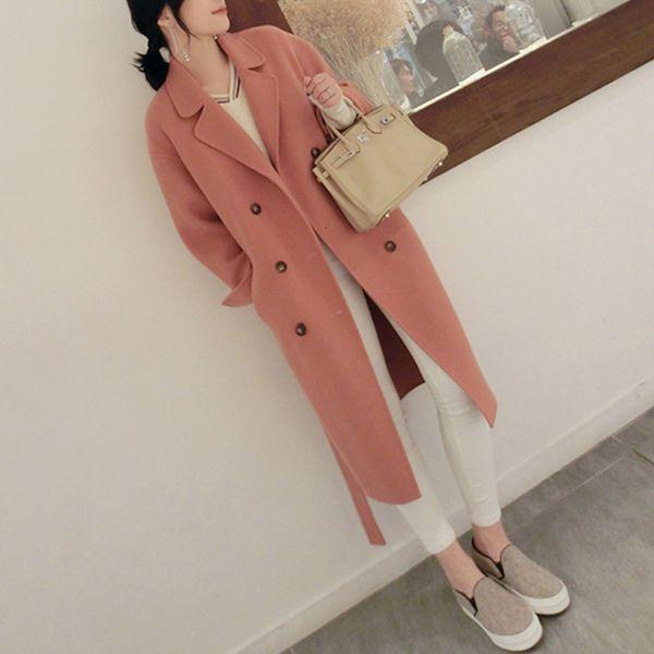 Casual Fashion Long Wool Blend Ladies Coat Warm Slim Women's Jacket Long Solid Double Breasted Korean Womens Fashion Coat