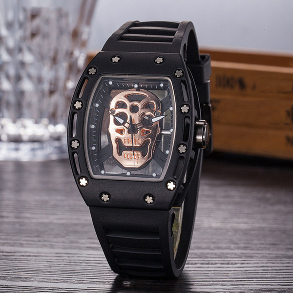 casual hollow ghost head skeleton men watches army military watch skull sports quartz wristwatches clock gifts relogio masculino, Slivery;brown