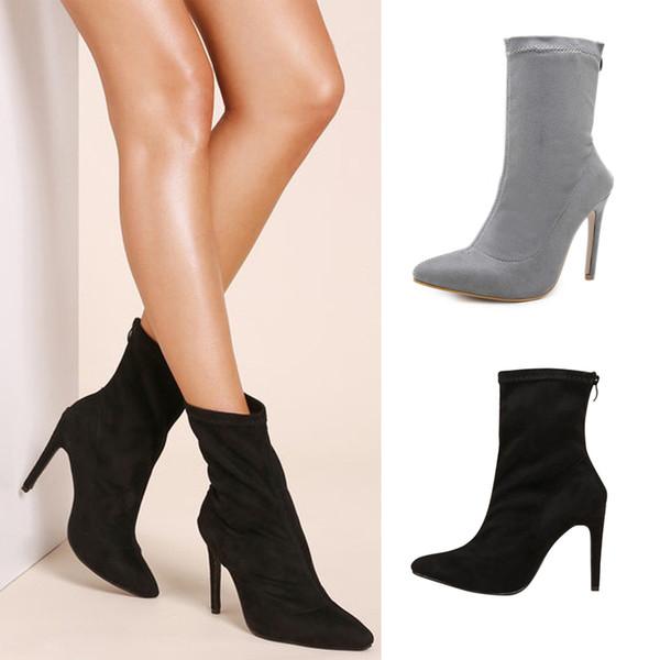 Fashion Womens Mid-Calf Boots Faux Suede Stiletto Platform Buckle Party Shoes