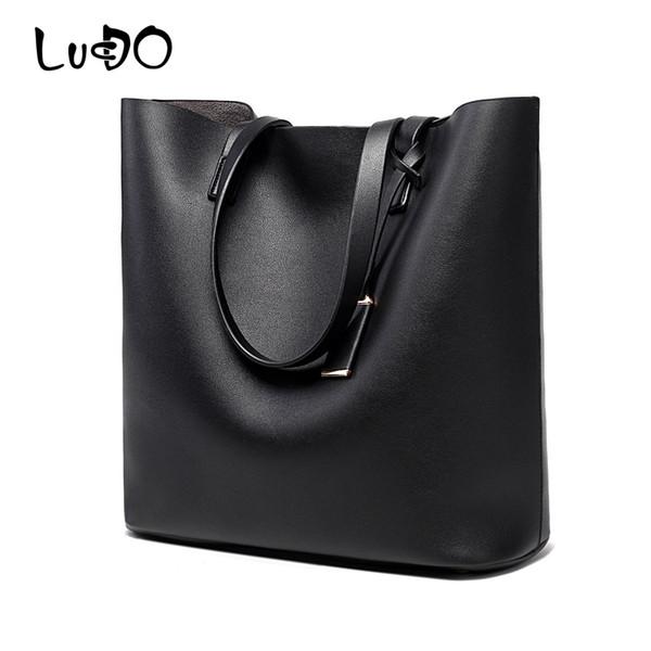 LUCDO Fashion Women Leather Handbags Ladies Shoulder Bag Large Tote Bag Pu Women's Big Hand Bags Luxury Bolsas Sac A Main Femme