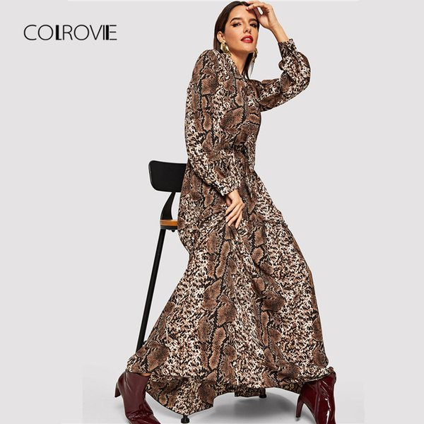 Colrovie Snake Skin Leopard Print Vintage Maxi Dress Women Clothes Autumn Long Sleeve Sexy Party Office Ladies Dresses J190621