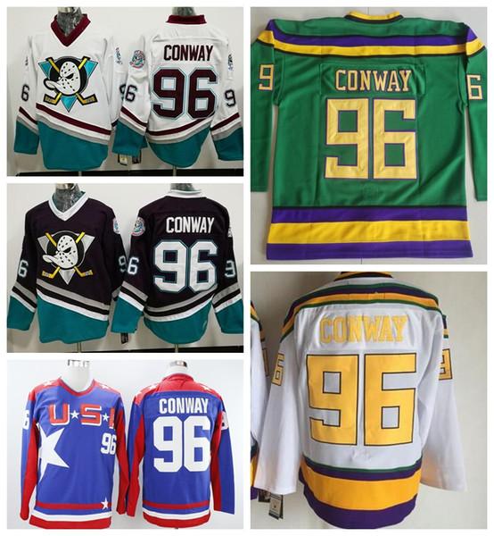 Erkekler Satış Film 96 Charlie Conway Anaheim Ördekler Formalar Buz Hokeyi 1993 Vintage Spor Hayranları Için Tüm Dikişli Ev Mor Beyaz Yeşil mavi