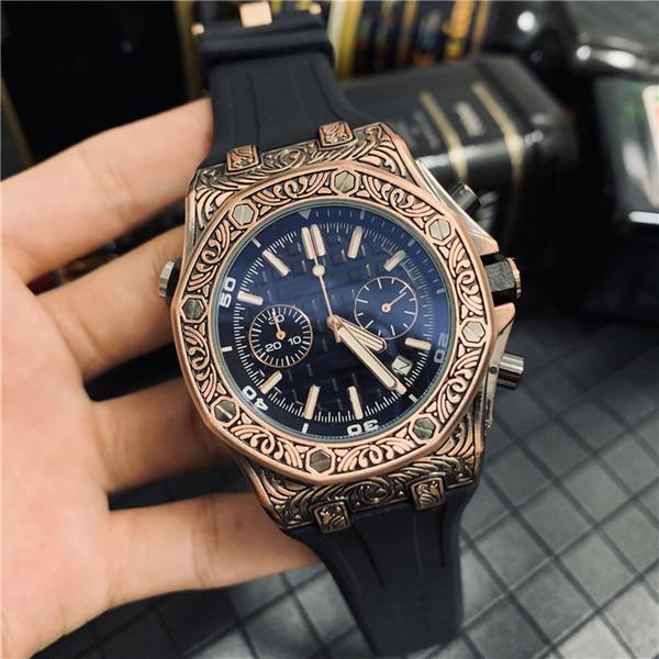 Venta al por mayor moda para hombre reloj de lujo grabado acero inoxidable Royal Oak Offshore Designer Watches All Dial Work Chrono Men Sport reloj de pulsera