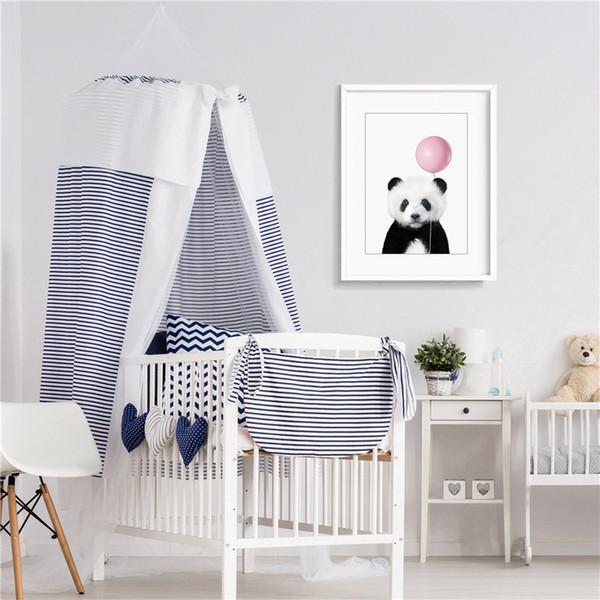 El Panda está tirando de un globo Arte Minimalista Lienzo de Pintura HD Wall Picture Poster e Impresión Decoración para el hogar Decorativa