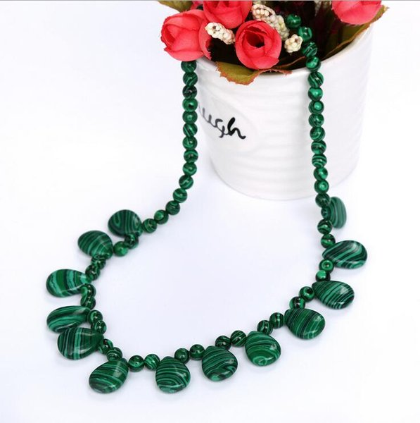 Collier de malachite collier en forme d'oeuf bijoux en pierre naturelle collier goutte d'eau collier de mode bijoux de haute joaillerie