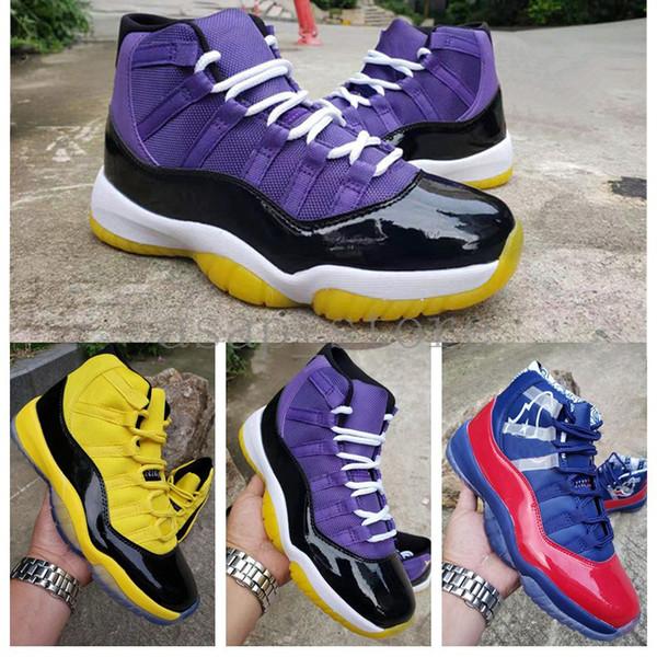 2019 New Arrival Jumpman Lakers Bumblebee Men Basketball Shoes 11 11s Bulls Designer Sports Sneakers size 7-13