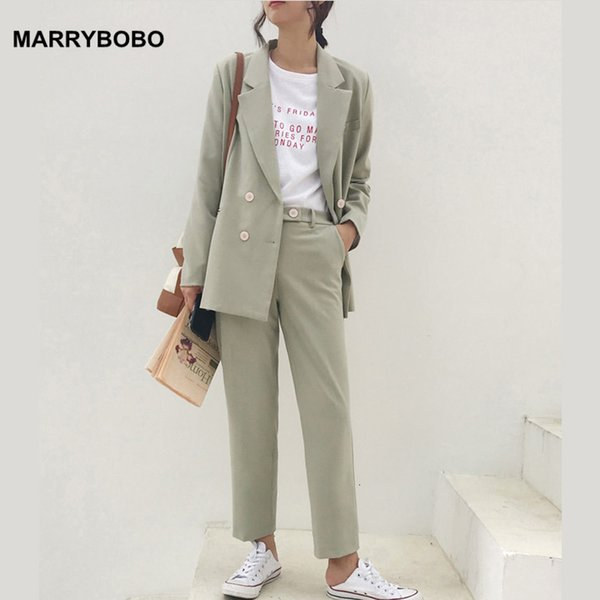 2019 Autumn Casual Jacket Blazer pantaloni a vita alta 2 piece set Vintage Doppio Petto due pezzi Set Lady Office Work Abiti Wear SH190928