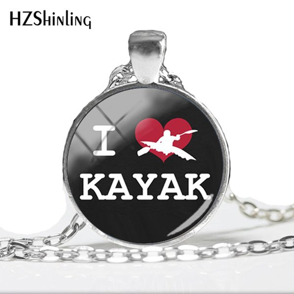 2019 whole saleI Love Kayaks Pendant Necklacepink kayaking Necklaces Art Printed Photo silver Round Glass Jewelry HZ1