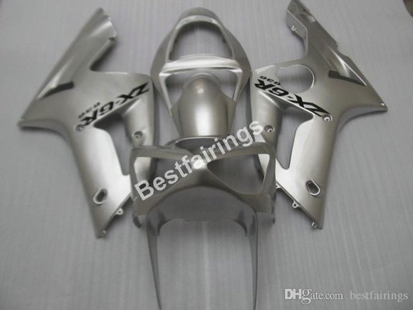 Cheap injection mold plastic fairings for Kawasaki Ninja 636 ZX6R 03 04 silver motorcycle fairing kit ZX6R 2003 2004 MT29