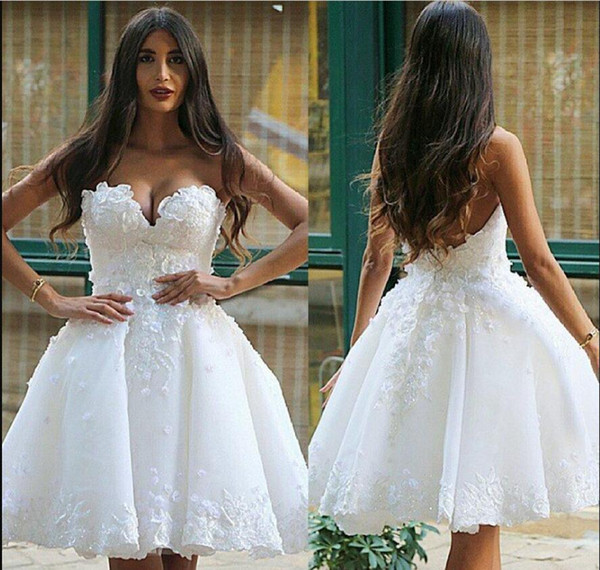 Summer Boho Stunning 2019 Sweetheart Backless Sexy Appliques White Short A Line Mini Wedding Dresses Lace Party Bridal Gown Custom Made