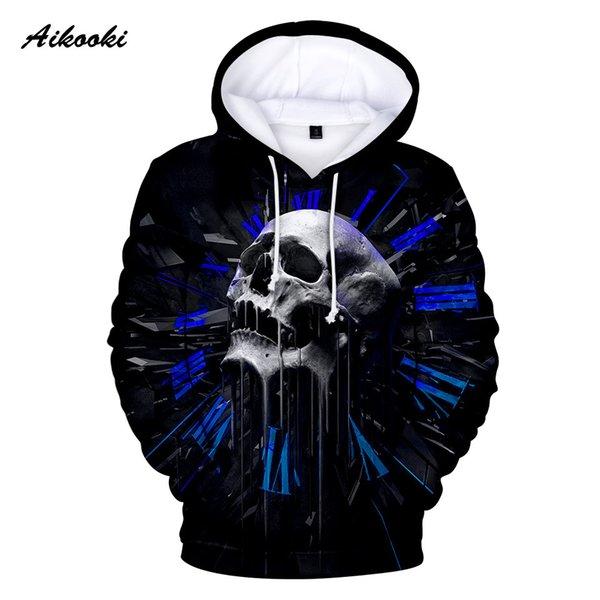 Moda Nuevo Horror Skull Hoodies Sudaderas Hombres / Mujeres Hoody 3D Funny Skull Black Hooded Boys / Girls Polluvers Otoño Invierno Tops