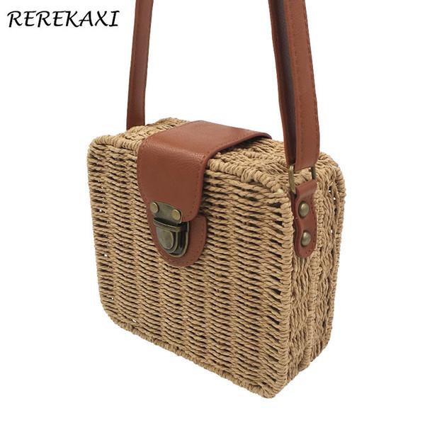 Rerekaxi Hand-woven Candy Color Women Straw Bag Ladies Small Shoulder Bags Bohemia Beach Bag Crossbody Bags Travel Handbag Tote Y19061204