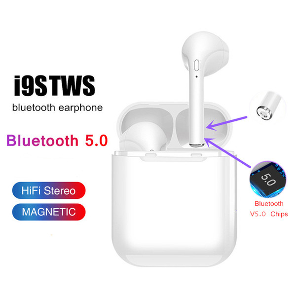 top popular i9 i9s tws wireless bluetooth headphones ture stereo 5.0 Earphones earbuds for IOS Android Phone With Wireless Bluetooth Headphone with Pack 2019
