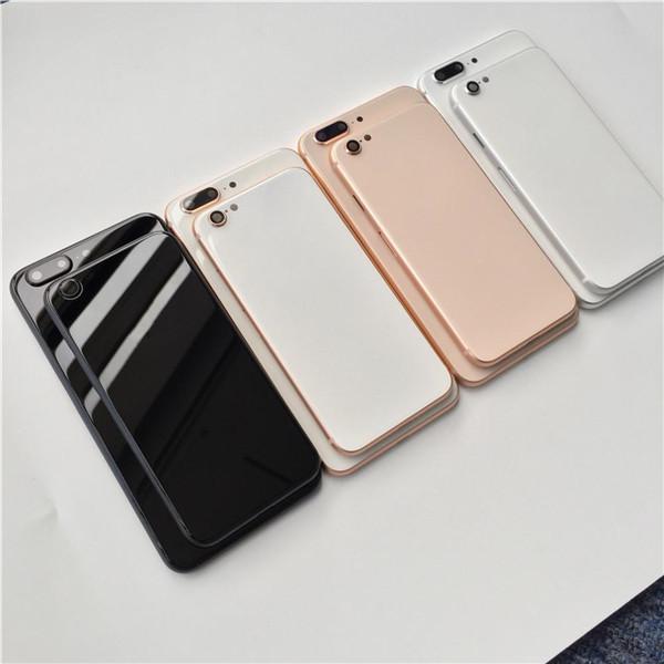 IPhone 6 6 S 7 Artı Geri Konut gibi iPhone 8 için Stil Metal Cam Tam Siyah Beyaz Kırmızı Siyah Arka Kapak Gibi 8g 8 artı 8 +