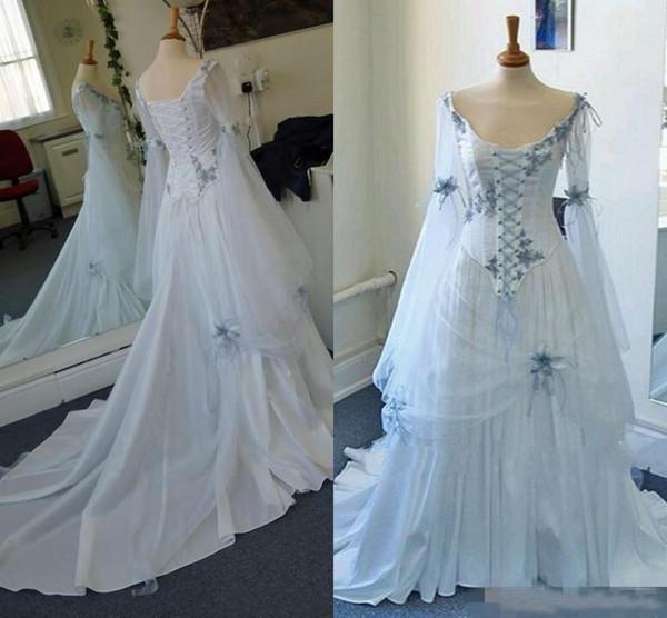 Старинные кельтские свадебные платья белые и бледно-голубые средневековые свадебные платья Scoop декольте корсет с длинными рукавами аппликации свадебные платья дешево