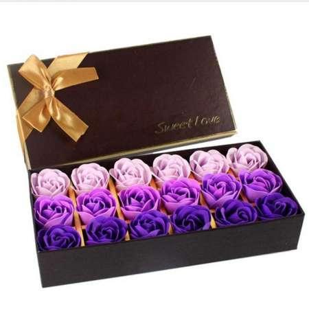 18 Stück Simulation Rose Seife mit Geschenkbox Valentinstag Geburtstag Hochzeitsgeschenke Frauen Mädchen Bad Gesichtsseife Rot Lila Blau