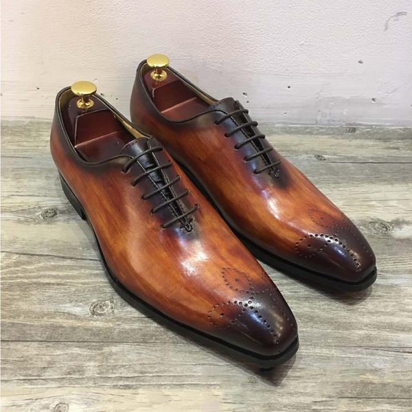 Sipriks diseñador para hombre de piel de patina vestido oxfords italiano real de vaca de cuero formal zapatos de esmoquin de goma suela de encaje hasta caballeros 44