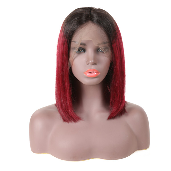 Red Human Hair Lace Wigs Ombre Short Bobo Style Glueless Virgin Peruvian 1b 99j Burgundy Ombre Full Lace Wig Pre Plucked