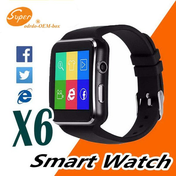 Curved Screen X6 Smartwatch Smart Watch Bracelet Phone With SIM TF Card Slot With Camera For iPhone Samsung LG Sony All Android Mobile Phone