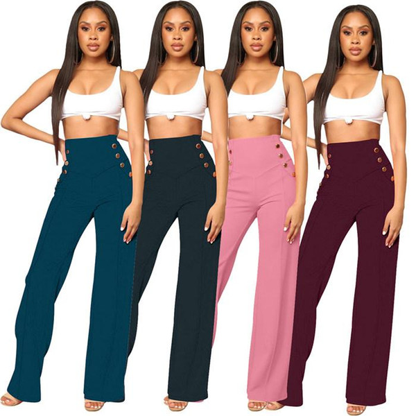 Women's High Waist Wide Leg Pants Casual Loose Flare Trousers Ladies Solid Stretch 2019 Spring Summer Fashion Female Pants ODFS d001