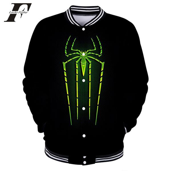 Spider Man 3D Printe Baseball Jackets Women/Men Fashion Long Sleeve Jacket 2019 Arrival Streetwear Clothes New