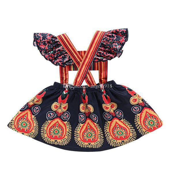 Ins hot sell high qualtity 0-4 year old girl printed ethnic style ruffled sleeveless dress kids princess dress B11