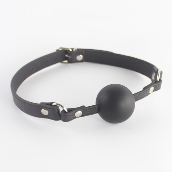 Adjustable Fetish Leather PVC Mouth Ball Gag Open Mouth Device BDSM Female Slave Training Silicone Soft Balls Harness Bite Gags A121