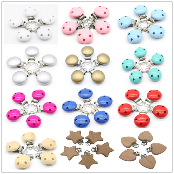 5 Pcs Wood Baby Pacifier Clips Natural Color Wooden Round With Metal Holders Kids Feeding 4.5cm X 2.8cm