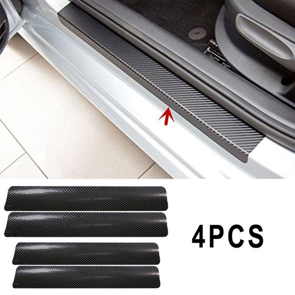 Vehemo 4Pc Black Car Door Plate Stickers Carbon Fiber Look Car Sticker Sill Scuff Cover Anti Scratch Decal Universal For All