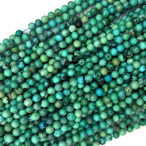 "High Quality Natural Blue Green Turquoise Round Loose Stone Beads Fit Jewelry 15.5 "" 06060"