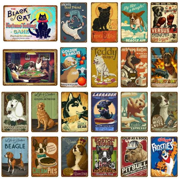 Le métal Black Cat signes mignon de chien Teddy Beagle affiche vintage plaque murale décorative pour Pub Bar Magasin Kids Room Home Decor