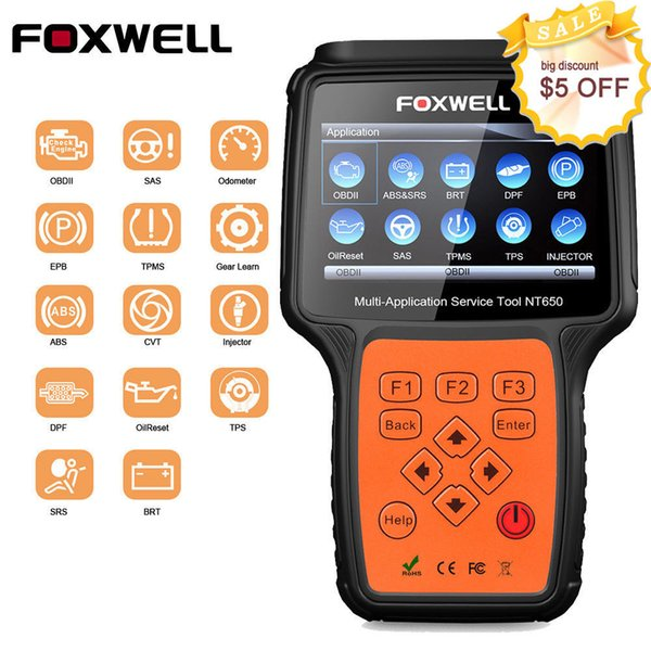 FOXWELL NT650 OBDII Escáner de diagnóstico EPB SAS BMS DPF ABS SRS AT Herramienta de reinicio de aceite