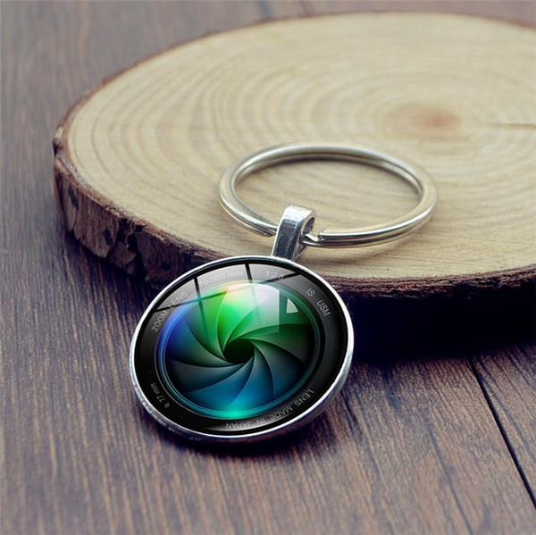 2019 fashion camera lens photo keychain, jewel crystal keychain, car pendant alloy keychain, creative gifts, gifts for photography enthusias