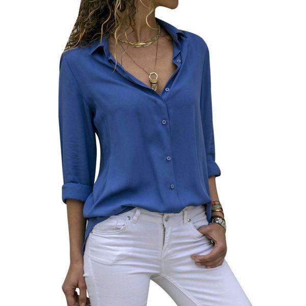 Camicia in chiffon con bottoni a V profondi da donna Camicetta casual Top a manica lunga femminile T-shirt larghe a maniche lunghe