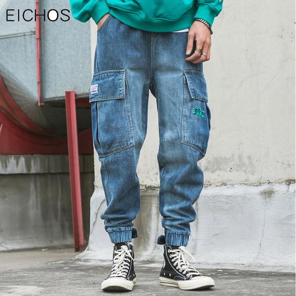 Japanese Embroidery Letters Mens Baggy Jeans Hip Hop Multi Pocket Harem Jeans Pants Men Cotton Loose Cowboy Streetwear EICHOS