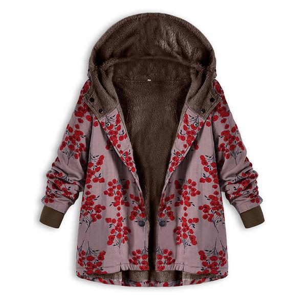 Cappotti di lana con cappuccio stampati alla moda vintage inverno 2018 Donna Cappotto in tessuto Threded Fleece addensato taglie forti