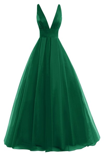 Simple Elegant Women's Chiffon A Line Prom Dresses Sexy Deep V Neck Evening Gowns Backless Formal Party Dress