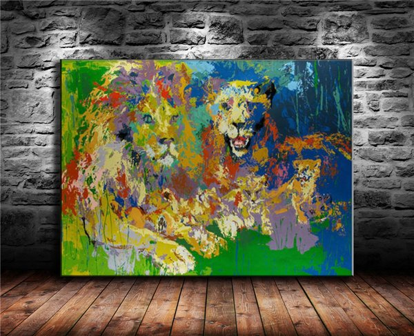 Stolzer König der Löwen, Leinwand Malerei Wohnzimmer Wohnkultur moderne Wandmalerei Ölgemälde