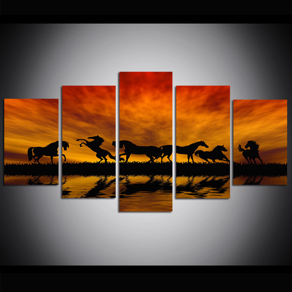 5 Piece Large Size Sunset Horses Canvas Print Oil Painting Wall Art Pictures for Living Room Paintings Wall Decor
