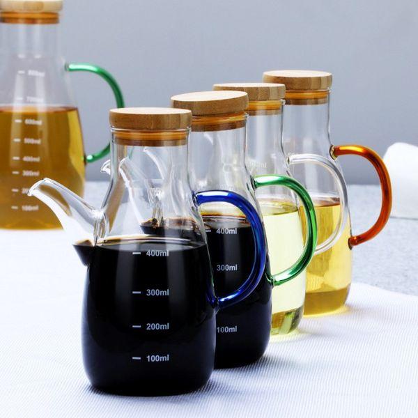 Premium Olive Oil Dispenser Bottle Big Oil Dispenser Cruet Glass Pour Spout Cooking Oil Vinegar Measuring Dispenser for Kitchen and BBQ