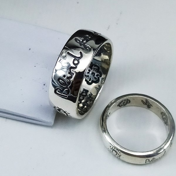 L'ancien anneau de l'amour de la famille S925 hommes pur anneau d'argent de fleur de la langue des oiseaux et des femmes rétro ancienne série bijoux en argent français