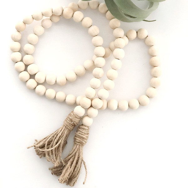 best selling Natural Wooden Bead Chain with Tassel Garland Northern Europe Nursery Home Décor Hand Made Wood Farmhouse Decoration Z0911