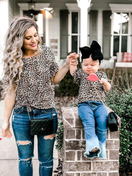 c629bcd964 Summer Family Matching Clothes Tshirt Mother Daughter Leopard Printed  T-Shirt Tops Kids Baby Girls Women Family Look Casual T Shirt Outfits