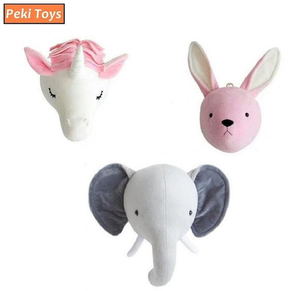 Animals Elephant Rabbit Unicorn Head Wall Mount Artwork Decor Plush Dolls Kids Room Decoration Wall Hanging Toys Photo Props
