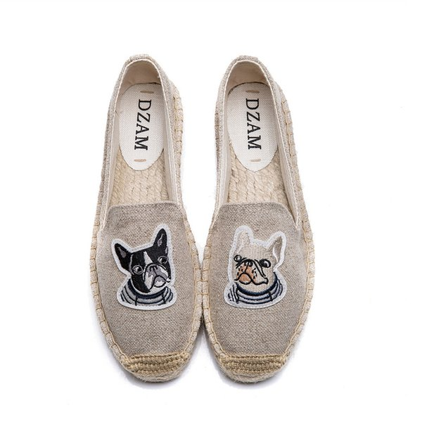 2019 Women Espadrilles Fishman Shoes Lady Loafers Autumn Sole Woman Canvas Flats Comfortable Dog Embroidery Casual Shoes