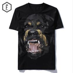 New High 2018 Punk Men Fashion T Shirts Rottweiler Print T-Shirt Hip Hop Skateboard Street Cotton T-Shirts Tee Dog #603 001