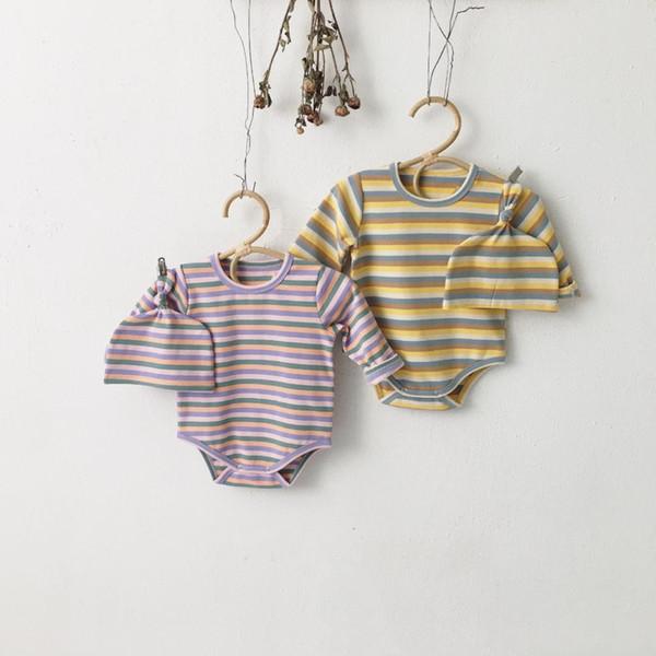 1850 2019 Sonbahar Çizgili Bebek Tulum Uzun Kollu Şapka Ile Yenidoğan Giysileri Pamuk Bebek Yürüyor Gömlek Bodysuit Ikizler Giysileri