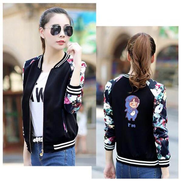 2019 New Fashion cute cartoon Love Yourself Print Women Jackets Kpop Long Sleeve Casual Zipper Jackets Streetwear Fans Clothes