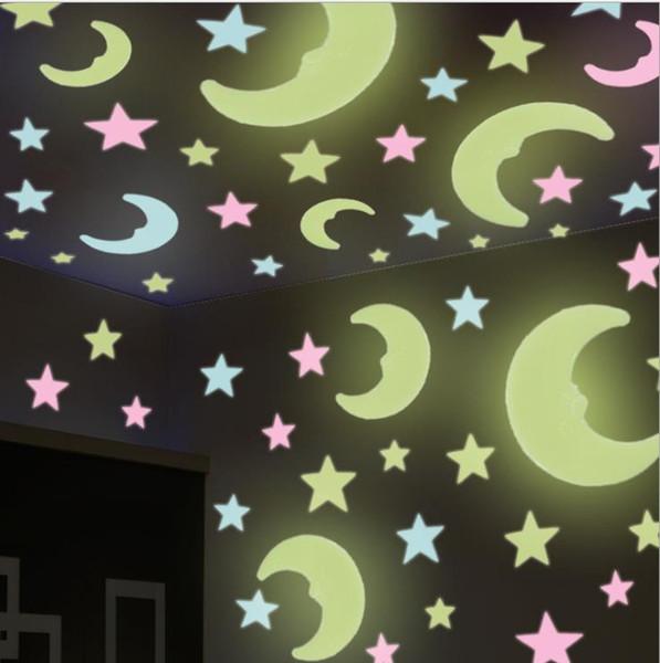 Deckenschmuck selbstklebende kreative 3D-Stereo-Licht Kinderzimmer leuchtende Sterne Aufkleber Wand fluoreszierende Wandaufkleber