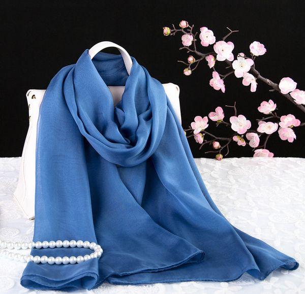 Primavera y otoño bufandas de seda verano hangzhou seda morera seda aumento fino puro gasa bufanda bufanda lisa